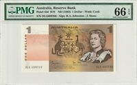 Australia 1983 1 Dollar PMG Certified Banknote UNC 66 EPQ Gem Pick 42d Queen
