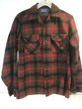 Vintage Pendleton Loop Collar Flap Pocket Wool Shirt Shadow Plaid Red Gray S