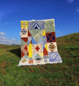 Vintage beni ourain Rug moroccan colorful handmade carpet berber 7ft x 5ft