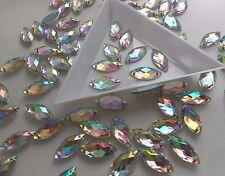 Horse Eye 7*15mm Crystal AB Rhinestone Acrylic Strass Gems Flatback Sew On 70pcs