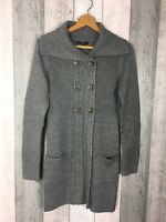 Grey Chunky Knit Longline Double Button Down Cardigan Size UK 8 George