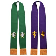 Christian Clergy Peace Dove Crown Cross Embroidered Reversible Stole 2 Patterns