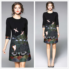 Black Flamingo Embroidery Short Sleeves Women's Slim Short Dress For Work S-3XL