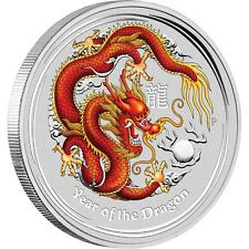 Perth Mint Australia 2012 $ 2 Red Coloured Dragon 2 oz .999 Silver Coin