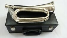Professional British Army Bugle Silver plated,Tuneable Mouthpiece Carrying Case