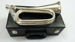 Professional British Army Bugle Silver Plated ,Tunable Mouthpiece Carrying Case