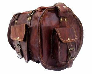 Men Women Genuine Vintage Leather Brown Travel Luggage Duffle Gym Bags Overnight