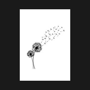 Abstract Nature Black Dandelion Flower - Art Print Poster Decor - A5 A4 A3 A2 A1