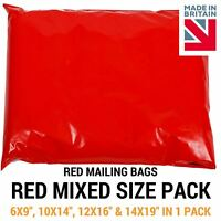 Mixed Pack of Red Coloured Mailing Bags - Plastic Mail Postage Poly Packaging