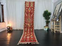 Moroccan Handmade Boujaad Runner 2'3x10'9 Berber Geometric Red Green Wool Rug