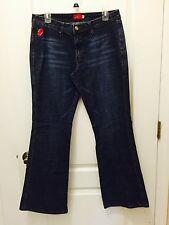 Apple Bottoms Sz14 Classic Stretch Flare Leg, Dark/Distressed Blue Denim Jeans