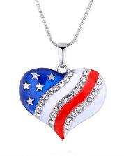 Collier, pendentif coeur strass imprimé drapeau des états-unis d'Amérique, USA.