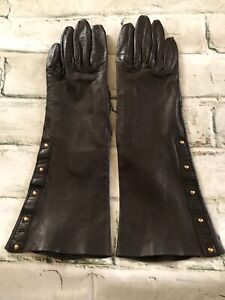 FAB! Vintage 100% Authentic Gucci Chocolate Brown Leather Gloves Size 6.5 Italy