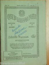 LIBRETTO DELLE CASSE DI RISPARMIO POSTALI PROVINCIA DI SALERNO 1954 ECONOMIA DI