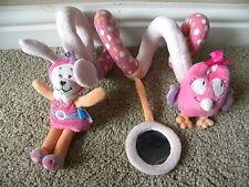TEX baby pink dog Hochet Hibou squeak miroir bébé landau jouet activité spirale