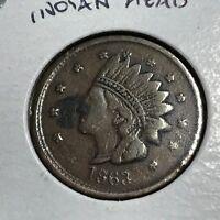 1863 INDIAN HEAD / NOT ONE CENT  CIVIL WAR TOKEN