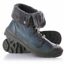 NIB PALLADIUM Baggy Leather S Men's Fur Lined Nordic Blue/Metal Ankle Boots