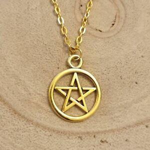 Pentagram Gold Necklace, Symbol,star,goth,gothic,boho,magic,bohemian
