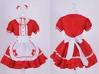 z-01 T. S Rojo Red Grabado Chica Servicio Lolita Cosplay Vestido Disfraz Disfraz