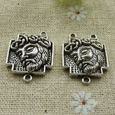 Free Ship 80 pieces tibetan silver rosary Jesus connector 27x21mm #308