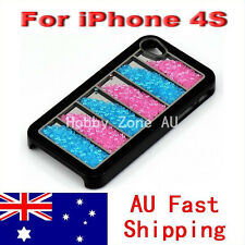 iPhone 4S 4 Crystal Luxury Bling Rainbow Black Back Case Cover RB01