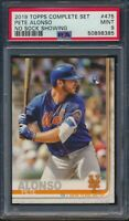 2019 Topps Complete Set Variation No Sock #475 Pete Alonso RC Mets PSA 9 Mint