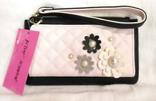 Betsey Johnson Wristlet Wallet Pink / Black w/ 3D Flowers NWT $58