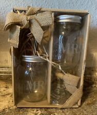 Mr. & Mrs. Etched Mason Jar Glasses Wedding Reception Shower Gift NIB