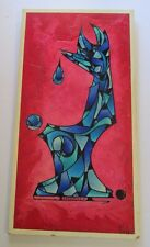 LARGE PAINTING ABSTRACT EXPRESSIONISM  MODERNIST NON OBJECTIVE LONG RED BLUE