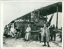 1914 World War I French Inspect German Plane Original News Service Photo