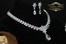 2 Pc Zirconia AAA+ Jewelry set Necklace Earrings  Bridal jewelry Silver White