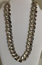 Monet Chunky Chain Necklace Silver Tone Heavy Signed 18-20""