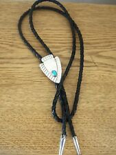 STERLING  AND TURQUOISE VINTAGE BOLO TIE...ARROWHEAD
