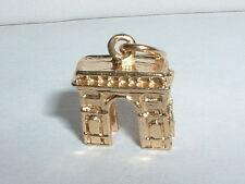 14K YELLOW GOLD 3D ARC DE TRIOMPHE PARIS ARCH CHARM