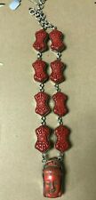 """VINTAGE JEWELRY Red Jasper and Wood Neckalce with Face about 11"""" Long"""