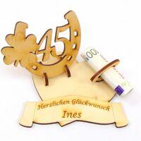 Geldgeschenk Messinghochzeit 45, Hufeisen Herz mit Namen des Brautpaares Holz