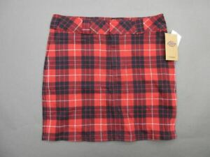 NWT Dickies Size 5 Womens Red Plaid Durable Mid Rise Worker Mini Skirt 349