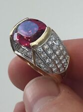 8.35ct Rubellite Tourmaline Diamond 18k Yellow Gold Estate Ring Antique Vintage