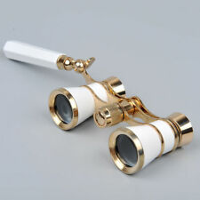 White Theater Opera Glasses Binocular 3X25mm Coated Telescope Lady w/Handle