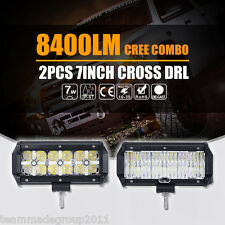 "2pcs 7inch ( 6"" ) 84W Cross DRL CREE LEDs Lights Bar Work Spot Flood Mask PK 36W"