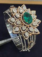 Pave 11,11 Cts Natürliche Diamanten Smaragd Hinged Bracelet In 585 Fein 14K Gold