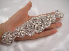 Gorgeous Diamante Bridal Applique Beaded Motif Rhinestone Pearl Wedding Applique