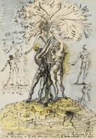 Salvador Dali Adam et Eve Poster Reproduction Paintings Giclee Canvas Print