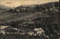 Jonsdorf Sachsen s/w Ansichtskarte ~1920/30 gelaufen Panorama mit Gondelfahrt