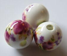 25pcs 12mm Round Porcelain/Ceramic Beads - White / Dark Magenta Pink Flowers