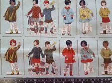 MODA Odds & Ends enfants Illustration Style Vintage bibelots ciel Tissu par FQ