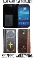Brown Leather Case Cover Holy Bible Book Design for Samsung Galaxy S4 Smartphone