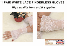 WHITE LACE Stretch Fingerless Gloves wedding prom  sexy and classy gloves