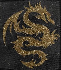 IRON ON TRANSFER glitter foil light gold tribal dragon 2.7 inches width LOOK