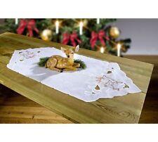 weihnachtlicher Tischläufer Rehmotiv, Laguettenrand und Stickerei, 35x90cm, neu